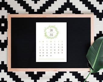 2018 Printable Desk Calendar - Woodland Green Leaf 12 Monthly Desk Calendar - 2018 Instant Download Calendar - Instant Download