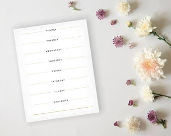 Menu Planner - Simple Elegant Black and Gold Menu Planner Sheet