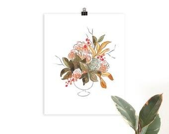 Festive Floral in Chestnut Illustrated Botanical Art Print