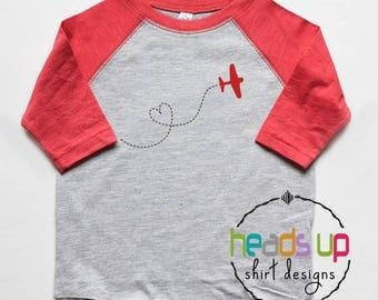 Valentine's Day Shirt Toddler Boy or Girl - Kids Valentine's Day Airplane Shirt - Heart Raglan Tee Trendy - Baby Boy Bodysuit Vday Love Gift
