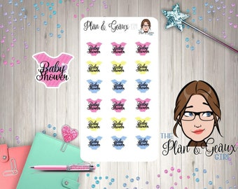 Baby Shower Planner Stickers, Welcome Baby Shower Stickers, Erin Condren Stickers,  Happy Planner, Bullet Journal, FUN-157