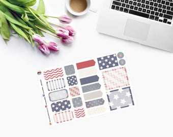 4th of July ~ Land Of The BRAVE ~ MINI Weekly Set Planner Stickers  CAM00312