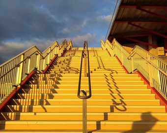 Yellow Stairs, Yellow Print, Yellow Photography, Stairway To Heaven, Yellow Art, Stairway Print, Stratford Print, London Art, England Art