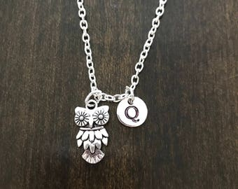 owl necklace ,Jewelry, Silver Jewelry, owl jewelry,CP62