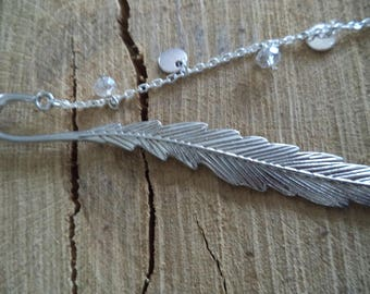 Silver plated bookmark decorated with a chain with Crystal beads, silver sequins and Dragonfly