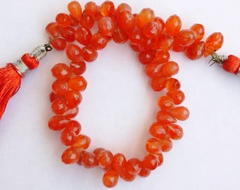 """1 Strand Natural Carnelian 16-17mm  Faceted drop shape  Gemstone Beads 8"""" long strand By SHAMSHAD GEMS"""