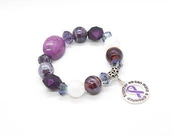 Purple Awareness Bracelet, Cancer Survivor Gift, Cancer Survivor, Cancer Awarenesss Bracelet, Cancer Gift, Chemo Gift, Cancer Bracelet