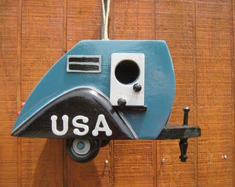 USA Teardrop Camper Birdhouse Travel Trailer Bird House  Tear Drop