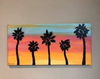 Sunset Palm Tree Painting