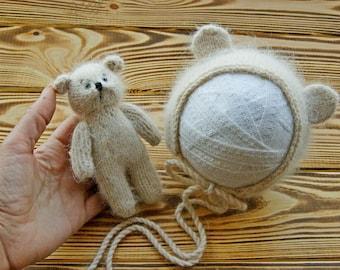 Angora bear bonnet and toy |  Angora bear hat| Newborn bear hat | Angora props |  Newborn animal bonnet