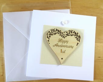 Wood Anniversary, 1st anniversary, card,  2nd 3rd 4th 5th 6th 7th 8th 9th anniverarsary, Personalised Anniversary card for husband, for wife