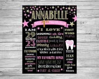 First Birthday Chalkboard/1st Birthday/First Birthday Chalkboard poster/Twinkle Twinkle Little Star/Decorations/Printable Custom Sign