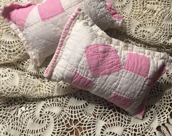 White and Pink Quilted Pillow/ Posing Prop Pillow/ Girl Posing Pillow