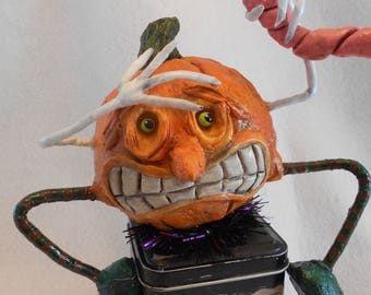 Paper Mache Pumpkin, OOAK Funny Pumpkin, Halloween Kitchen Art, Floral Centerpiece, Prim Pumpkin