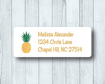Pineapple Address Labels - Custom Return Address Mailing Labels - Summer - Fruit - Tropical Labels - Matte White or Clear Gloss