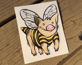 "Vinyl Decal Cute Little Pig ""When Pigs Fly (Bee Mine)"" Piggy Die Cut Art Indoor/Outdoor Sukoshi Buta Mini Pig Pigxel Art"