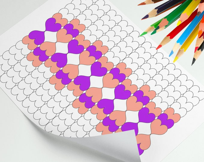 A4 Coloring Sheet, Easy Coloring Page, Simple Coloring Art, Hearts Pattern Coloring Art Of Relaxing, Stress Relief Page, Coloring Sheet Cute