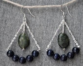 Lapis Lazuli and Green Jasper Chandelier Earrings on Silver Fill