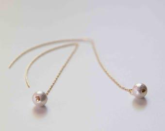 Cotton Pearl Threader Earring