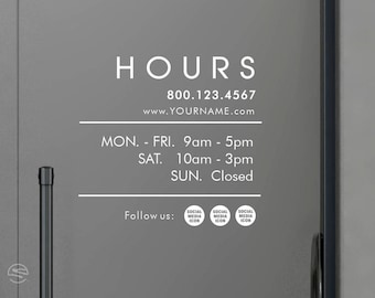 Business Hours decals, Social Media decals, Social Media stickers, Store hours decals, Office Hours decals, Hours of operations decals,