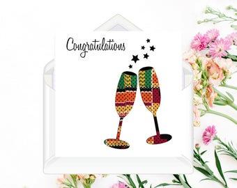 African Fabric/Ankara/Wax Print congratulations card - SPTD46