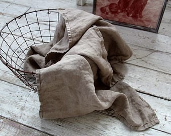 Rustic medium size linen / cotton towel - Natural very soft stonewashed  towels - Simple rustic kitchen\tea\hand towels