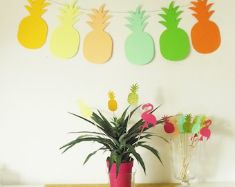 Garland of 6 paper for an added exotic and tropical pineapple