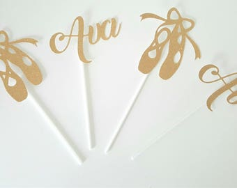 Set of 4 small toppers for dancer - customizable birthday 2 names and 2 slippers