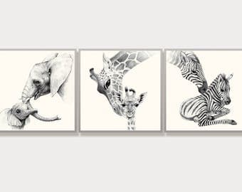 Mothers day Gift Safari Nursery Decor Elephant Mother Baby Room Art Animal Illustration Black and White Zebra Giraffe Drawing Set 3 Prints