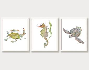 Ocean Animal Prints for Nursery, Kids Bathroom Wall Decor, Beach, Coastal, Marine Art, Blue Green Wall Art, Seahorse, Sea Turtle, Crab Set 3