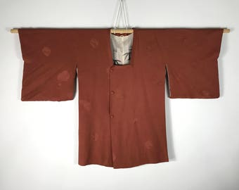 D765 Vintage Japanese Haori Kimono Womens Silk Cardigan Jacket Brown