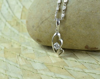 7x18mm Profile Heart Single White Gold Filled Rhodium Pendant With Clear CZ Stone, Cubic stone pendant/ White Gold Holiday Pendant