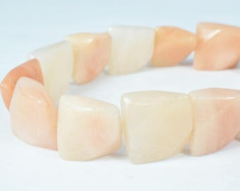 17mm Peach Agate Gemstone Square Nugget square Beads, 30pcs, Natural healing stone Beads birthstone natural Beads for jewelry making