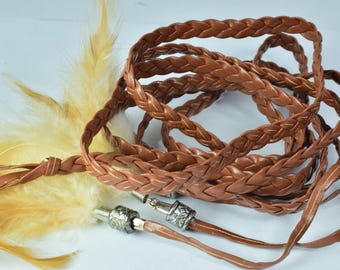 "66""inch Faux Leather Native American Inspired Braid Cord/Unity Wedding Braid/Marriage Braid/Unity Rope/Vegas Weddings/Feather Weddings"