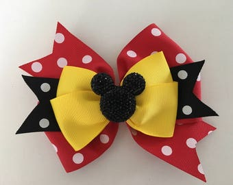 Minnie Mouse Hair Bow Mickey Mouse Bow Disney Minnie Bow Disney Mickey Bow Red Polka Dot Mninnie Bow with Glittery Minnie Disney Hair Bow