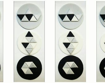 12 x black, white, gray and silver geo inspired Cupcake Toppers