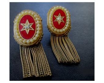 Dangle Chain Earrings * Vintage Clip On Earrings * With Crystal * Vintage Look