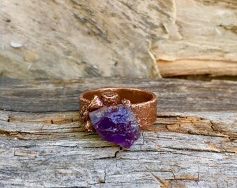 Amethyst ring,  natural stone ring, boho ring, mens ring, unsex ring, mermaid ring, amethys wrapped in copper seaweed
