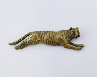 1980's J.J (Jonette Jewelry Co.) Bronze Leaping Tiger Statement Brooch