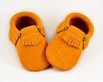 ON SALE! Golden Baby Moccasins Handmade Genuine Leather Yellow Mustard Moccs Soft Soled Shoes Fall Autumn Infants Toddlers Boys Girls
