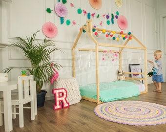 House bed FULL/Queen, floor bed, toddler bed baby bed montessori bed kids bedroom birch bed home developing toy mattress cot HEABOARD, SLATS