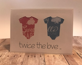 "Handmade Twins Baby Shower Thank You Cards ""Twice the Love. Twice the Thank You!"""