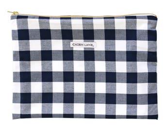 Brett's Navy Gingham Zippered Wet Bag  | Navy, White, Plaid, Gingham, Buffalo Check Gender Neutral Travel Bag