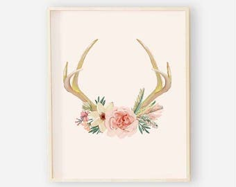 Antler Floral Nursery Digital Print | Nursery Wall Art | Floral Wall Art | Blush Floral Nursery Decor | Blush Boho Antler Print 3