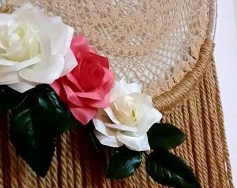 boho dreamcatcher, floral dreamcatcher, dream catcher, boho wall hanging, boho wall decor, nursery decor, wedding decor, bedroom decor, flor