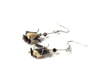 Origami lotus, origami flower, origami earrings, little earrings, exotic jewel