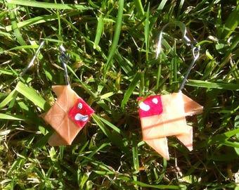 Beige pink origami fish earrings