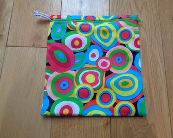 Sandwich bag - Eco - Snack - Bikini Bag - Lunch Bag - Make Up - Beauty Bag - Large Poppins Waterproof Lined Zip Pouch -  Gobstopper Fabric