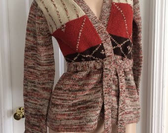 70's multicolor bell-sleeve sweater