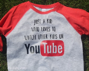Just A Kid That Likes to Watch Other Kids on YouTube - 3/4 sleeve Raglan Tee